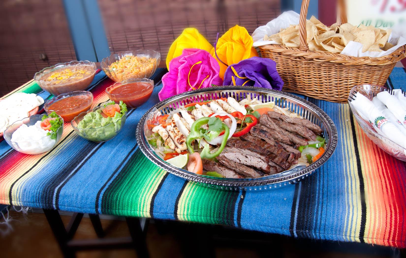 fajita taco bar, fiesta feast